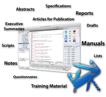 Textual is ideal for Abstracts, Articles for Publication, Drafts, Executive Summaries, Lists, Manuals, Notes, Questionnaires, Reports, Scripts, Specifications, Training Material