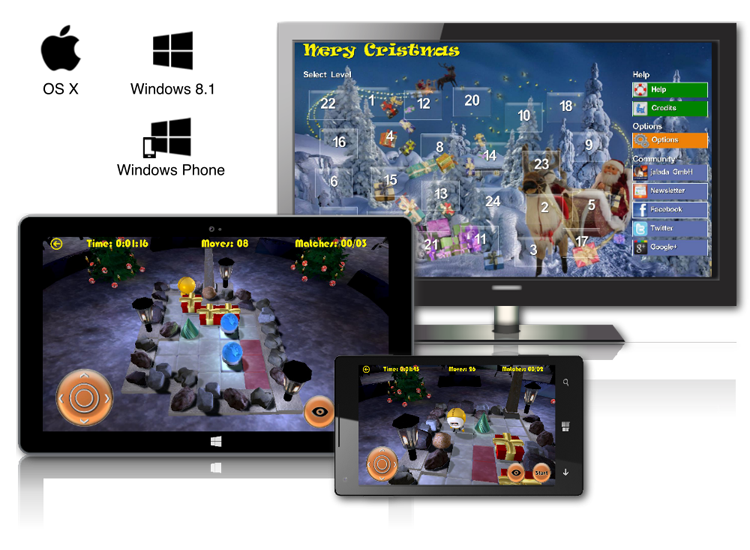 jalada Christmas works perfectly on Windows 8.1, Windows Phone and OS X 10.7 or later.