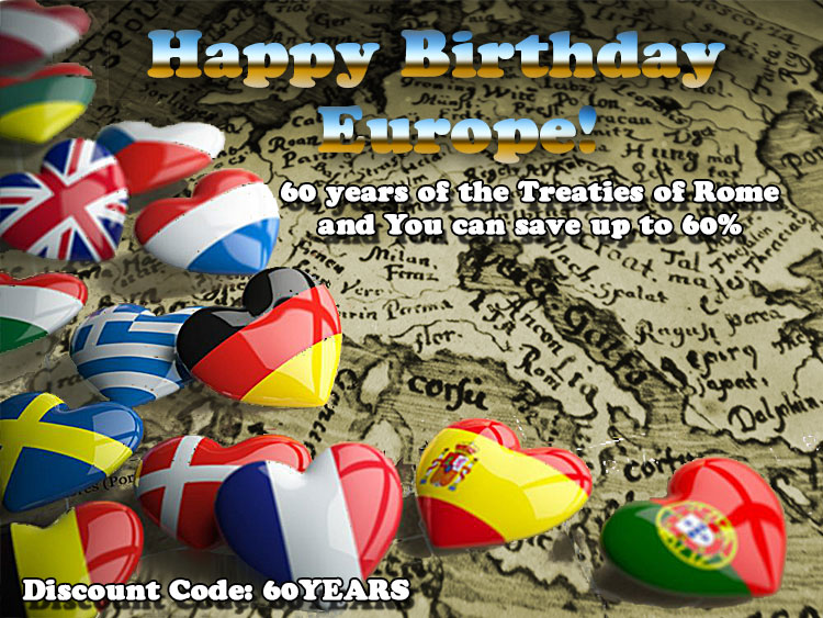 60 years of the Treaties of Rome and You can save up to 60%