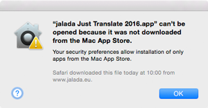 Example: Alert dialog for Just Translate
