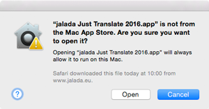 Example: Open dialog for Just Translate